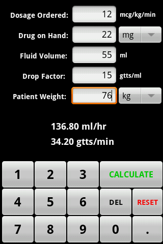 InfusionCalc- screenshot