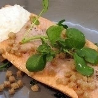 Trout with Watercress PuréE and Horseradish CrèMe FraîChe Recipe