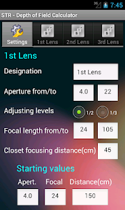 Depth of Field Calculator screenshot 0