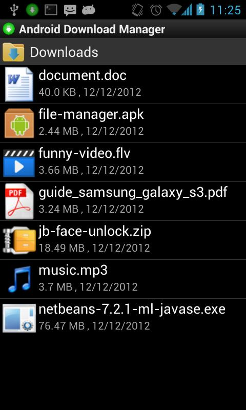 Android Download Manager - screenshot