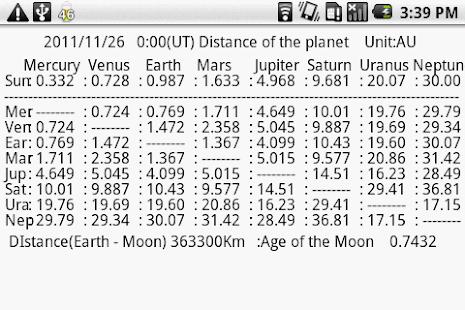 惑星間の距離と配列- スクリーンショットのサムネイル