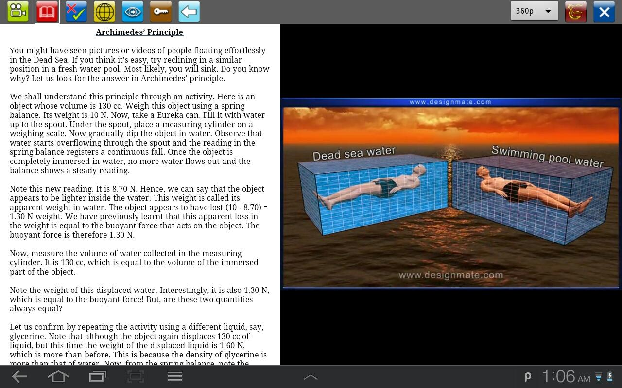 Archimedes' principle - screenshot