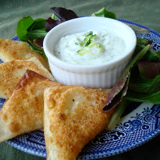 Pan-Fried Bacon, Scallion, Cheddar and Potato Wontons with Herb Dip.