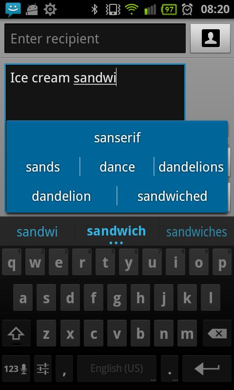 Ice Cream Sandwich Keyboard - screenshot