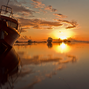Behind The Cloud by Choky Ochtavian Watulingas - Landscapes Waterscapes ( clouds, reflection, waterscape, sunrise, csv, seascape, boat, sun, , water, device, transportation )