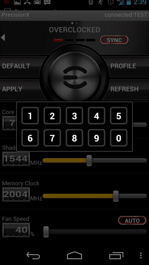 EVGA Precision X APP- screenshot