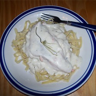 Salmon with White Wine Sauce and Fettuccini