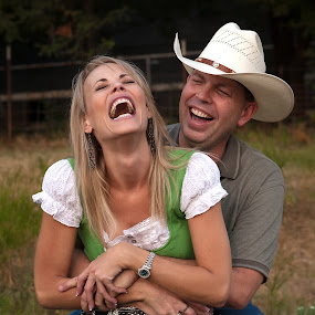 Love to laugh by Dale Frazier - People Couples ( excitement, common, bonding, beauty, together, love, bond, family, happy, woman, besty, couple, man, live, building, cowboy, laugh, green, faithful, beautiful, cowgirl, happiness, fun, living, couples, enjoyment, lady, laughter, improving mood, moods, red, the mood factory, inspirational, passion, passionate, enthusiasm,  )