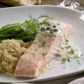 Poached Salmon with Creamy Piccata Sauce.