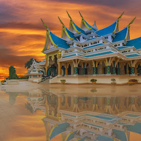 temple in Thailand by Jakkree Thampitakkul - Landscapes Sunsets & Sunrises ( temple, orenge, twilight, thai, HDR, Landscapes )