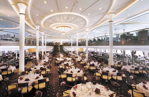 Enchantment-of-the-Seas-dining-My-Fair-Lady - Dine on steak, duck, seafood or vegetarian fare in My Fair Lady, Enchantment of the Seas's main dining room on decks 4 and 5.