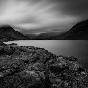 Wast Water by John Ash - Black & White Landscapes ( black and white, wast water, dark, moody, long exposure, lake district )
