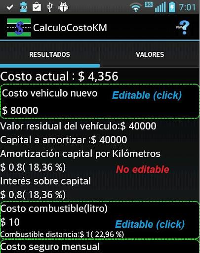 Auto cálculo de costo km free