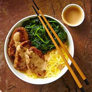 Lemongrass Pork & Spaghetti Squash Noodle Bowl with Peanut Sauce.