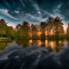 Hardwick Park Sunset by Ian Taylor - Landscapes Waterscapes ( water, reflection, hdr, hardwick park, sunset, neptune, trees, sedgefield, lake, pond )