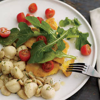 Chicken Cutlets Milanese with Butter Beans and Gnocchi.