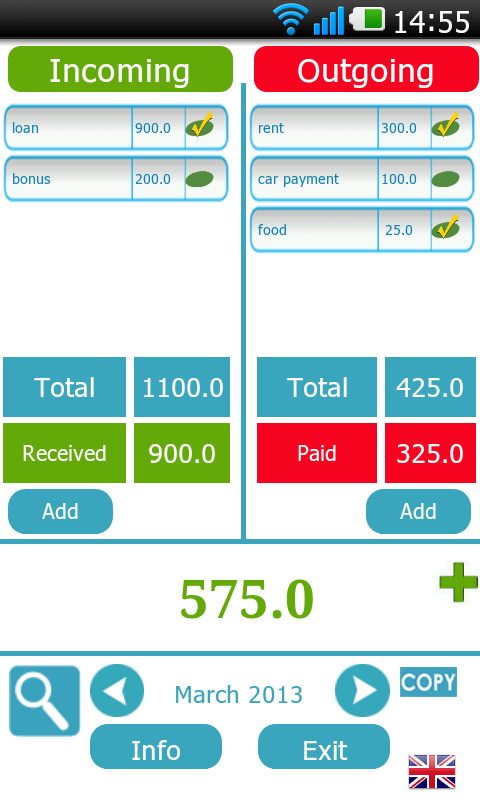 Balance Birdy bookkeeping- screenshot