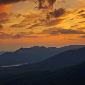 Table Rock Sunset by Jonathan Wheeler - Landscapes Sunsets & Sunrises ( clouds, caesars head, table rock, south carolina mountains, mountain sunset )