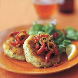 Cod Cakes with Pepper Relish.