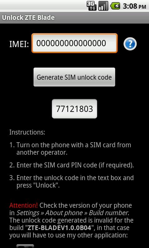 Unlock ZTE Blade - screenshot