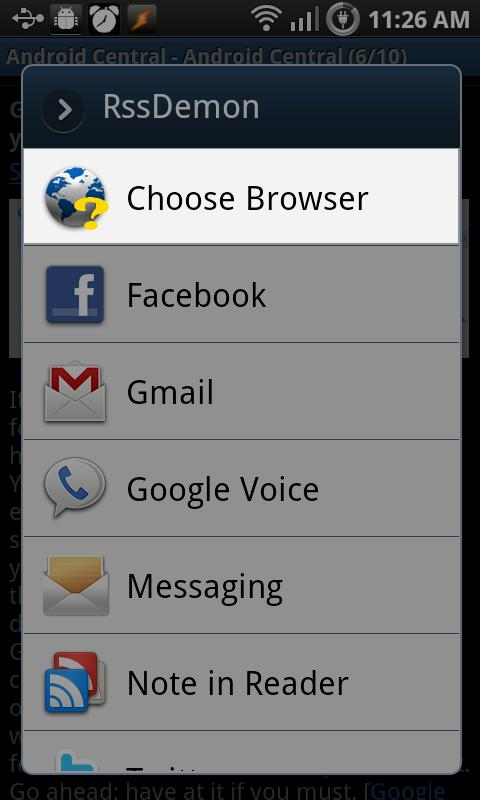 Choose Browser- screenshot