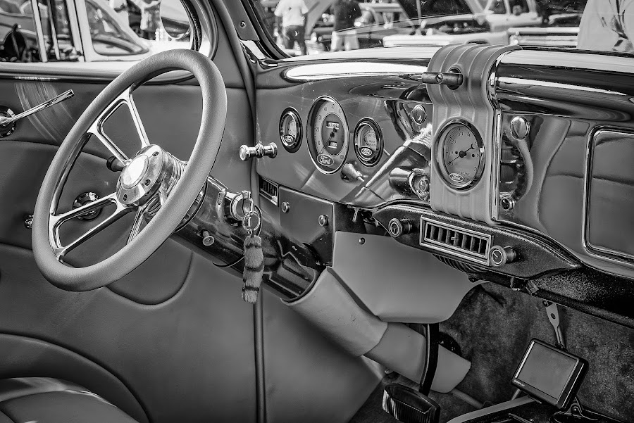 Chrome Dashboard by Ron Meyers - Black & White Objects & Still Life