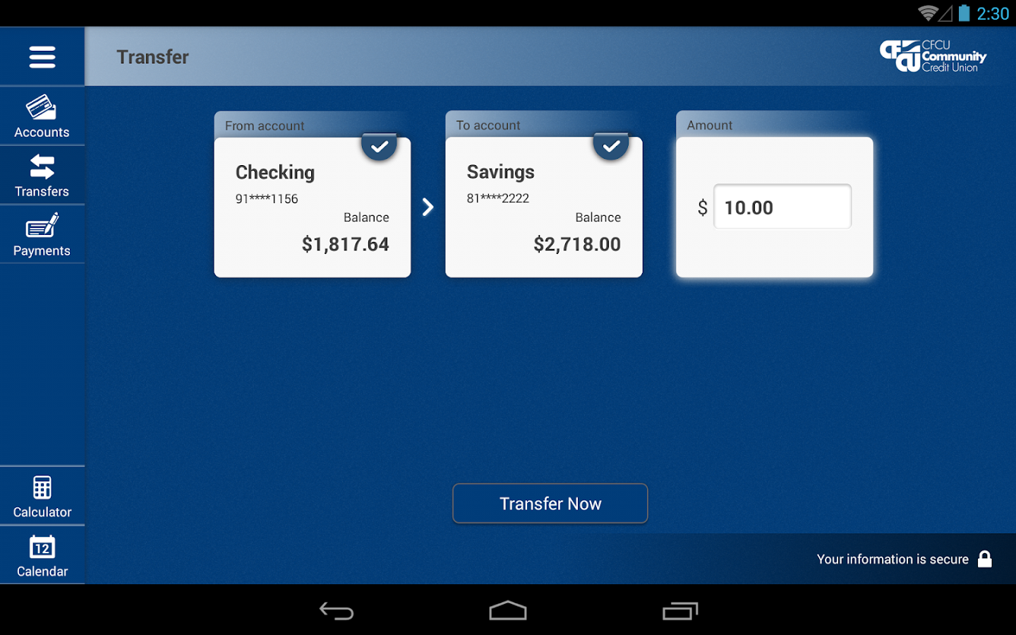 CFCU Community CU Tablet- screenshot