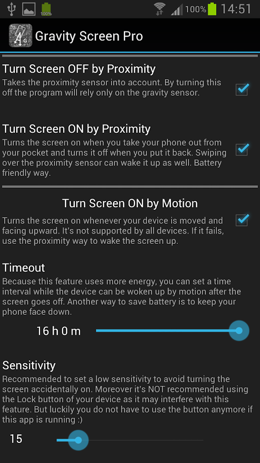 Gravity Screen Pro - On/Off - screenshot