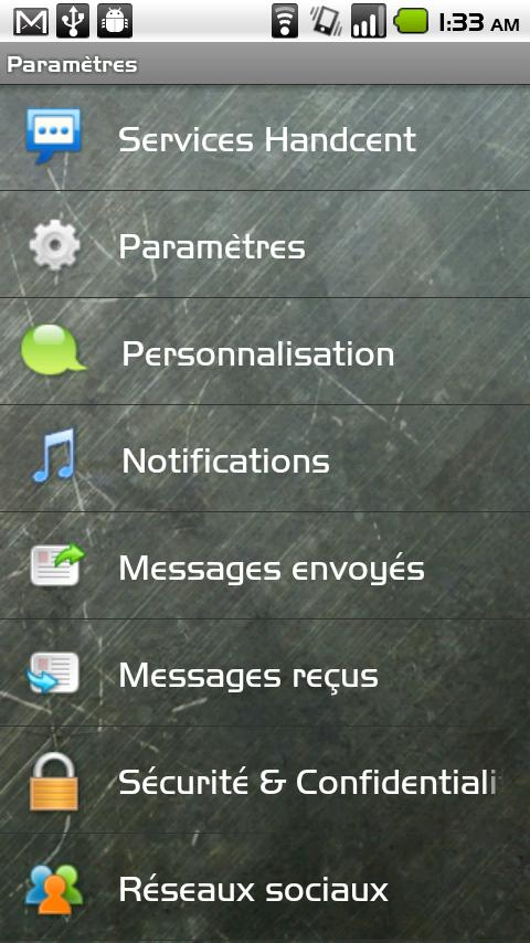 Handcent SMS French Language P- screenshot