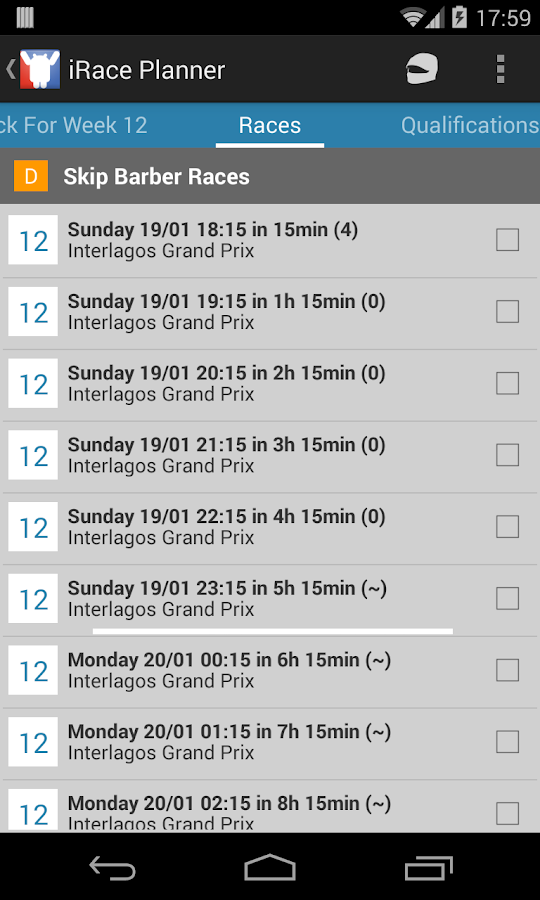 iRace Planner- screenshot