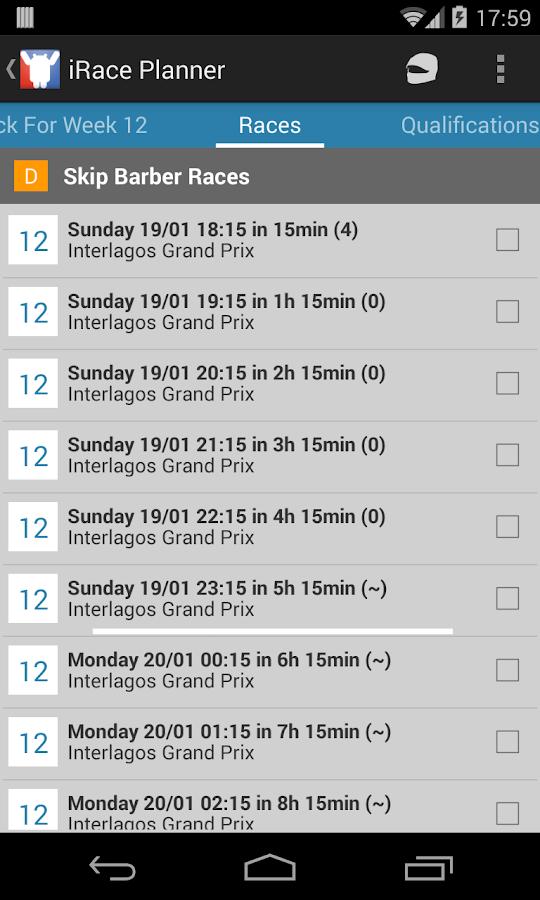 iRace Planner - screenshot