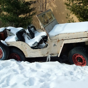 Off Roading Willys Jeep by Judy Soper - Transportation Automobiles ( jeep, 4 x 4, snow, off roading, willys )