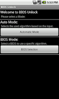 Screenshot of BIOS Unlock