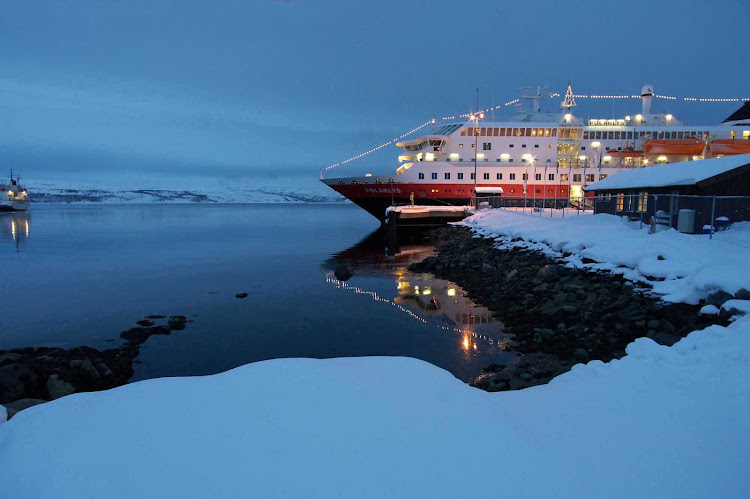 Hurtigruten's Polarlys as night falls on a voyage to arctic regions.