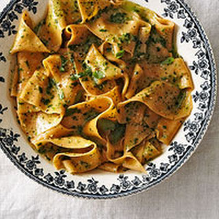 Tomato Pappardelle with Pesto & Parm