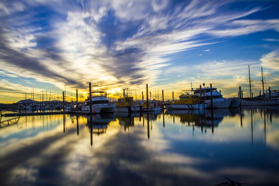 Reflection of Clouds - Gladstone Marina, QLD by Gurung Purna - Landscapes Cloud Formations ( water, cloud formations, reflection, sky, sunset )