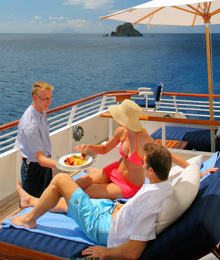 Get comfy and take in the views from the Balinese dream beds onboard your SeaDream sailing.