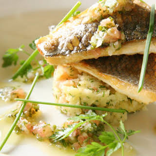 Fillet of Sea Bass with Crushed New Potatoes & a Vierge Dressing.