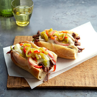 Philly-Style Pulled Beef Sandwiches.