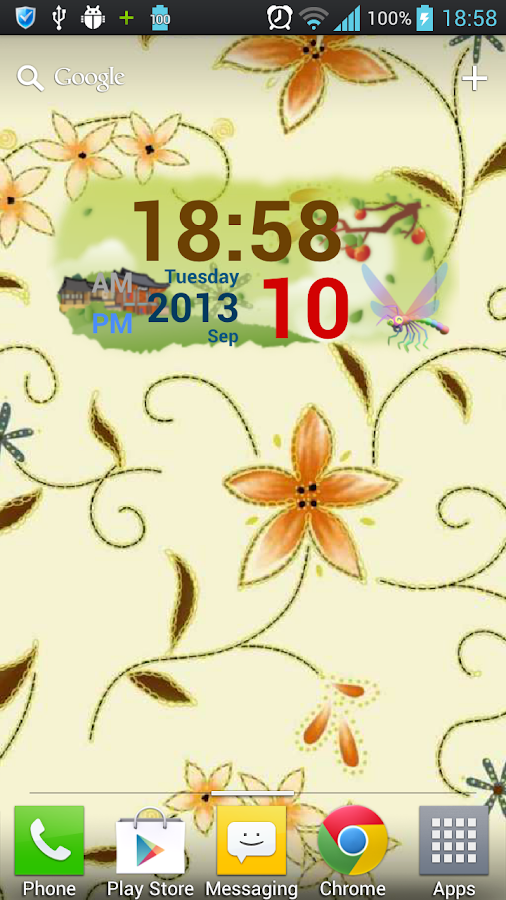 Autumn Digital Clock Widget - screenshot