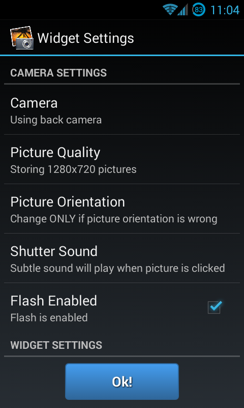 One Touch Camera Widget - screenshot
