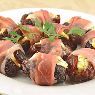 Orange-Basil Stuffed Dates with Prosciutto.
