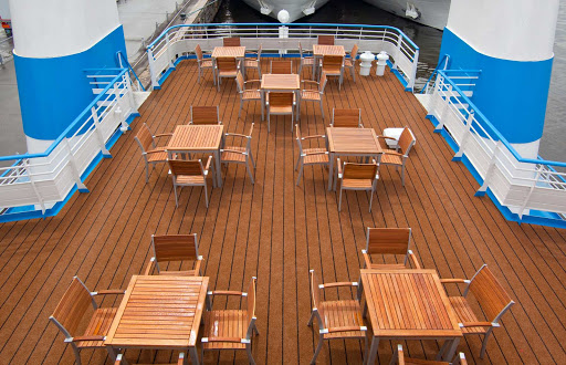 Guests can dine on deck during their cruise on Russia's waterways during their Scenic Tsar sailing.