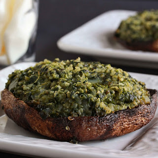 Quinoa and Spinach Stuffed Portobello Mushrooms.