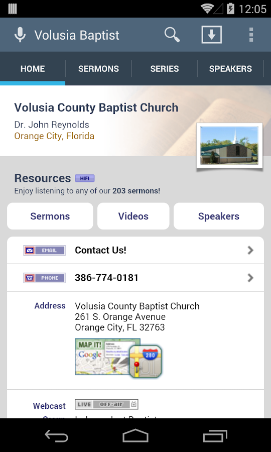 Volusia County Baptist Church - screenshot