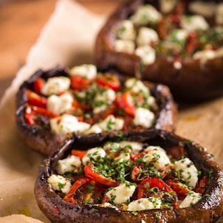 Stuffed Portobello Mushrooms With Roast Tomatoes and Goat Cheese.
