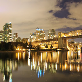 burrard street bridge vancouver by Ryan Chornick - Buildings & Architecture Bridges & Suspended Structures ( night exposure, skyline, reflections, long exposure, bridges, vancouver,  )