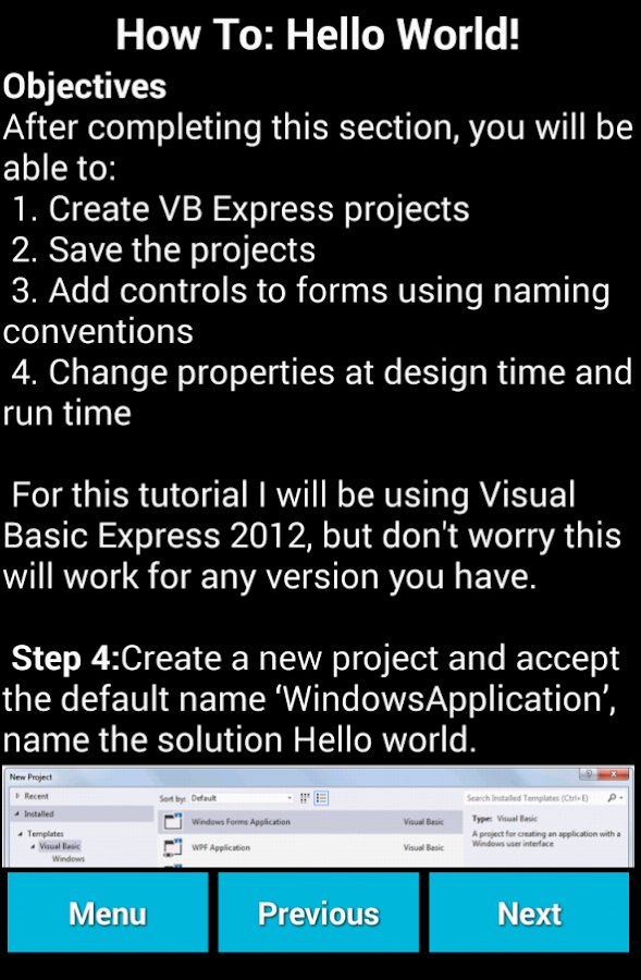 Learn Visual Basic- screenshot
