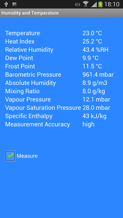 Humidity and Temperature - screenshot