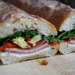 Salami, Pepperoncini, and Chevre Sandwich.